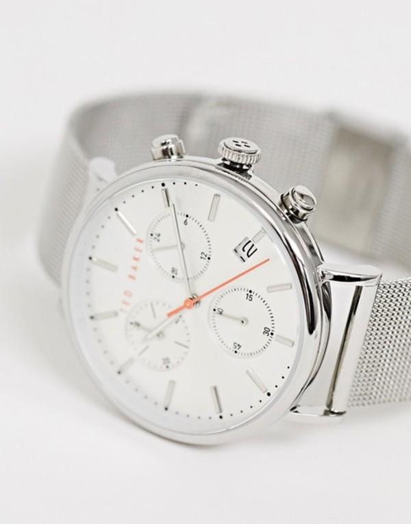 テッドベーカー メンズ 腕時計 アクセサリー Ted Baker Mimosaa mesh watch in silver 41mm Silver