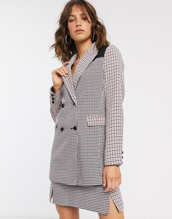 ファッションモンキー レディース ジャケット・ブルゾン アウター Fashion Union blazer in mixed check two-piece Multi