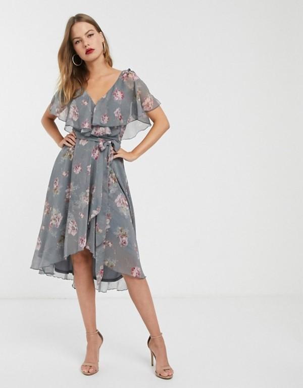 エイソス レディース ワンピース トップス ASOS DESIGN split sleeve cape back dipped hem midi dress with tie shoulder in floral print Floral print