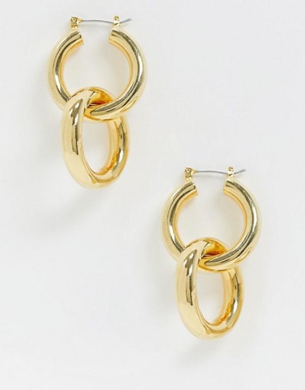 ホイッスルズ レディース ピアス・イヤリング アクセサリー Whistles large double tube hoop earrings Gold