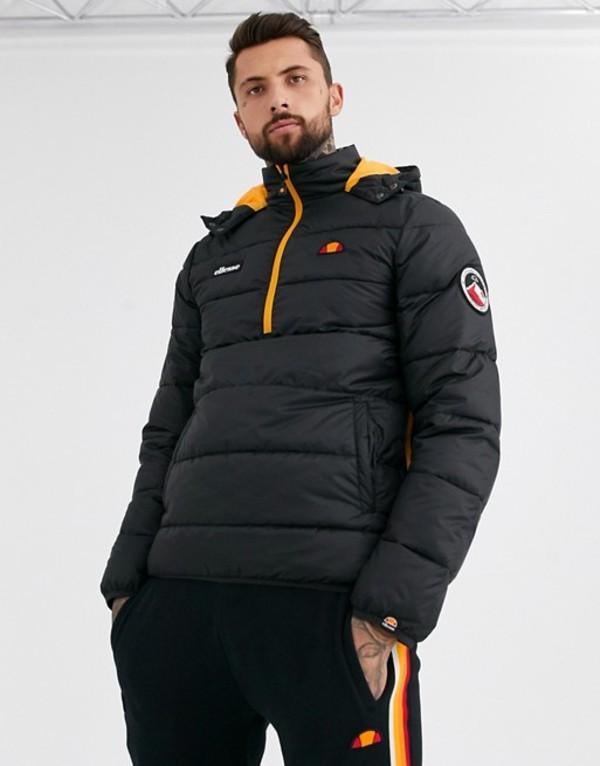 エレッセ メンズ ジャケット・ブルゾン アウター ellesse Narni half-zip padded jacket in black Black