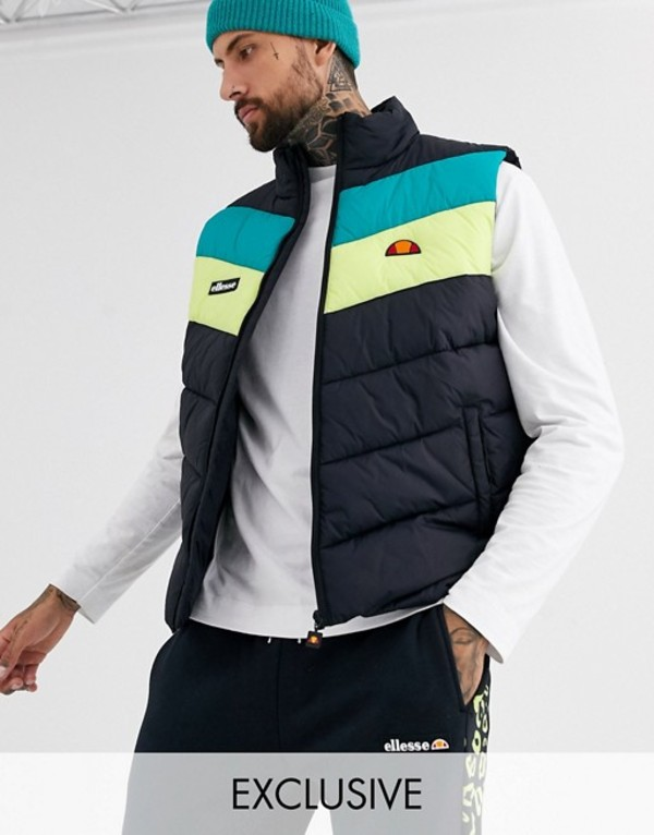 エレッセ メンズ タンクトップ トップス ellesse Coppa quilted vest in black exclusive at ASOS Black 720