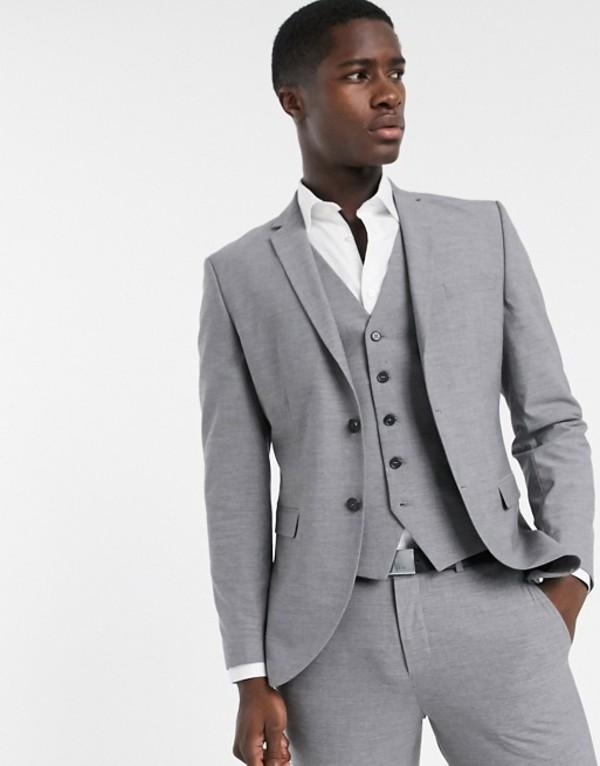 セレクテッドオム メンズ ジャケット・ブルゾン アウター Selected Homme skinny fit suit jacket in gray Light grey melange