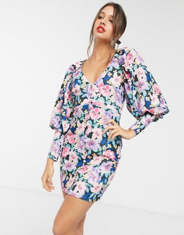 エイソス レディース ワンピース トップス ASOS DESIGN puff sleeve button through mini dress in black based floral print Floral print