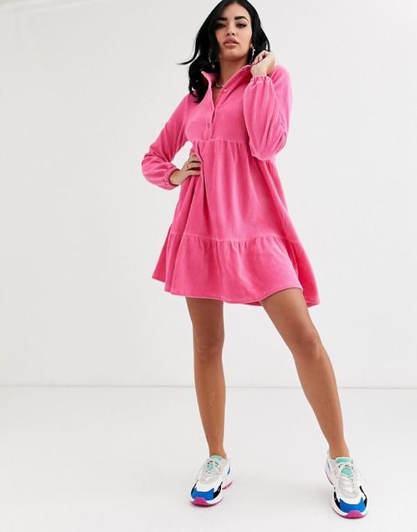 エイソス レディース ワンピース トップス ASOS DESIGN Long sleeve mini cord smock shirt dress Pink
