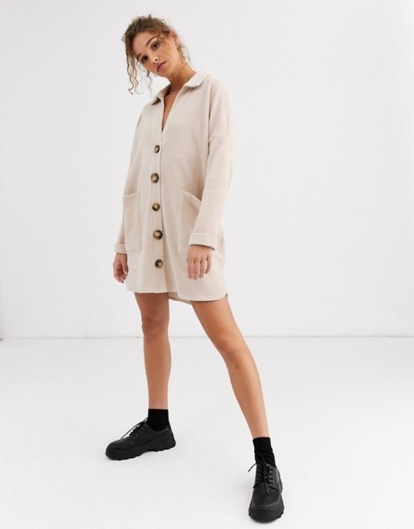 エイソス レディース ワンピース トップス ASOS DESIGN slouchy mini cord shirt dress Stone