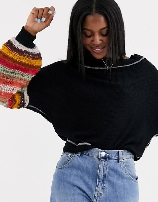 フリーピープル レディース ニット・セーター アウター Free People cha cha stripy sleeve lofty yarn sweater Black