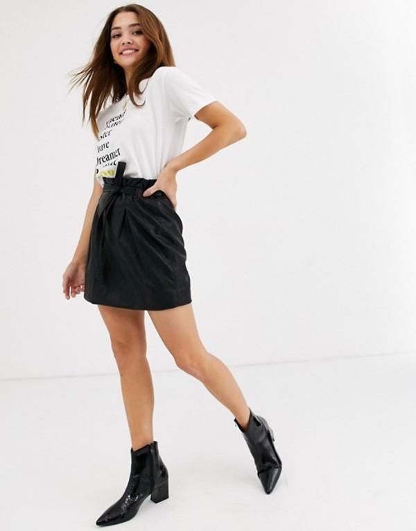 フリーピープル レディース スカート ボトムス Free People payton PU paperbag mini skirt Black