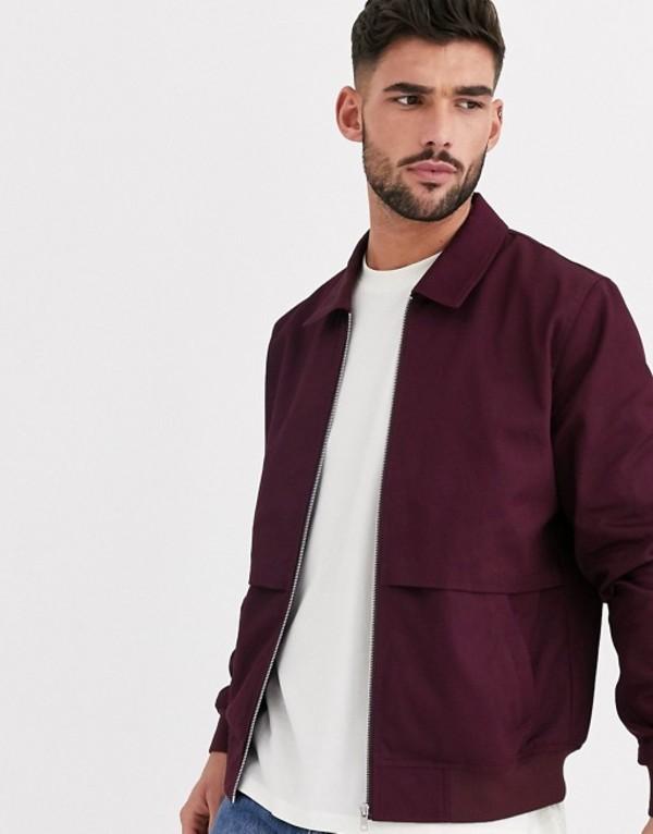 エイソス メンズ ジャケット・ブルゾン アウター ASOS DESIGN harrington jacket with storm vent in burgundy Burgundy