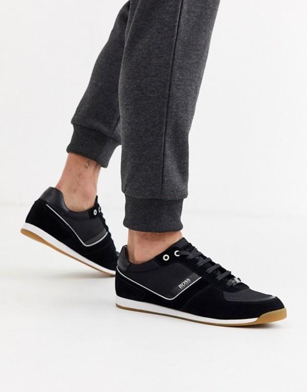 ボス メンズ スニーカー シューズ BOSS Glaze low mesh sneakers with suede trim in black Black