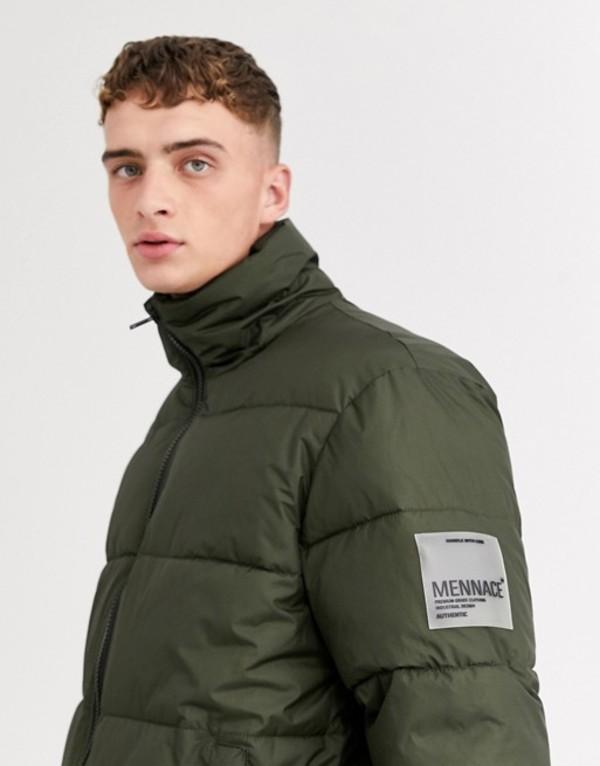 メニス メンズ ジャケット・ブルゾン アウター Mennace puffer jacket in khaki with panel Green