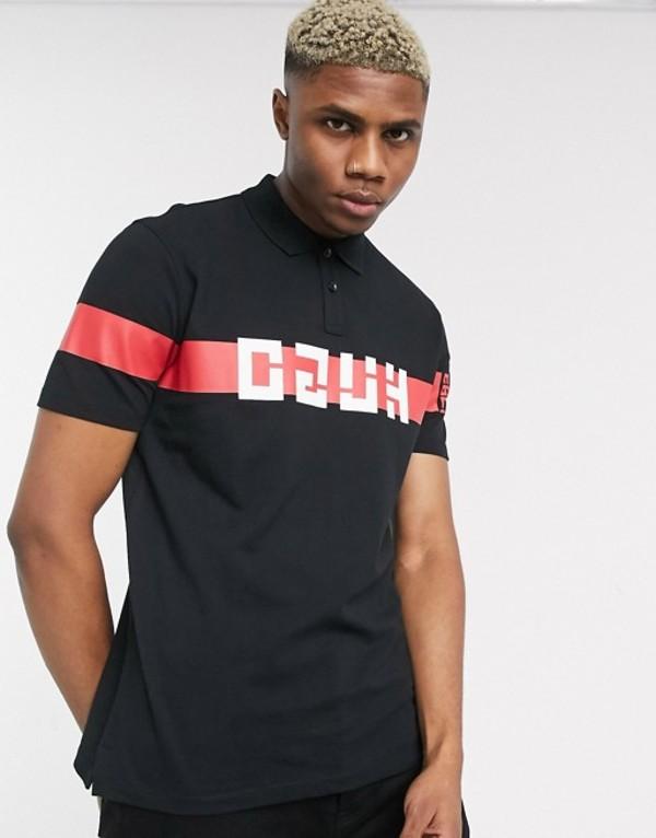 フューゴ メンズ ポロシャツ トップス HUGO Dosel chest stripe logo polo in black Black