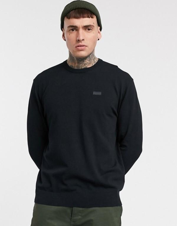フューゴ メンズ ニット・セーター アウター HUGO San Claudio fine knit cotton sweater in black Black
