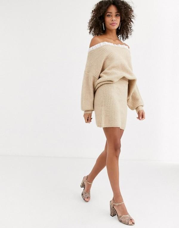 ネバーフリードレスド レディース スカート ボトムス Never Fully Dressed knitted mini skirt in beige Beige