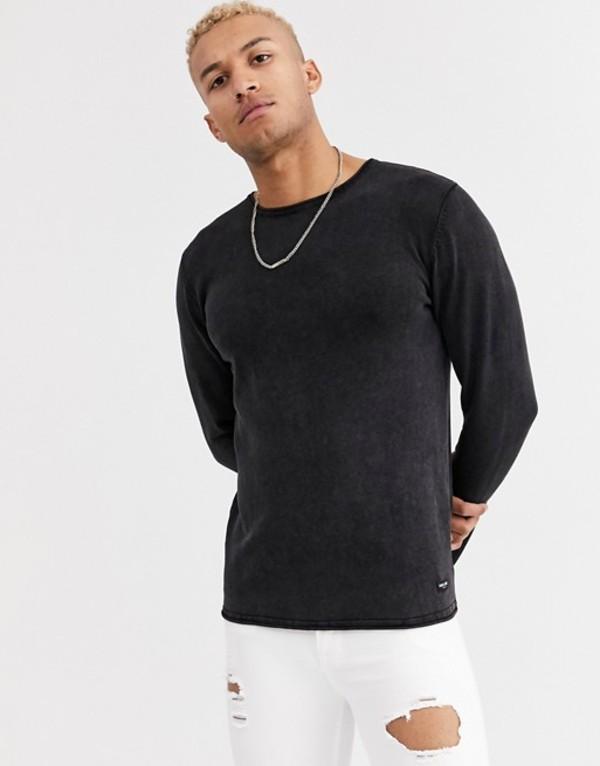 オンリーアンドサンズ メンズ ニット・セーター アウター Only & Sons crew neck sweater in washed black Black