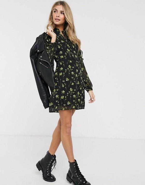 オアシス レディース ワンピース トップス Oasis swing dress with tie collar in floral print Black