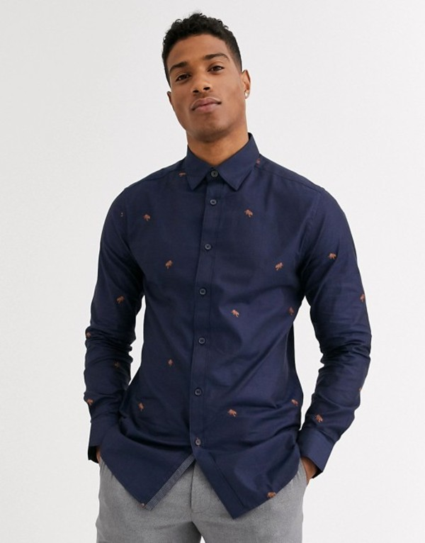 テッドベーカー メンズ シャツ トップス Ted Baker shirt with tiger coupe print in navy Navy