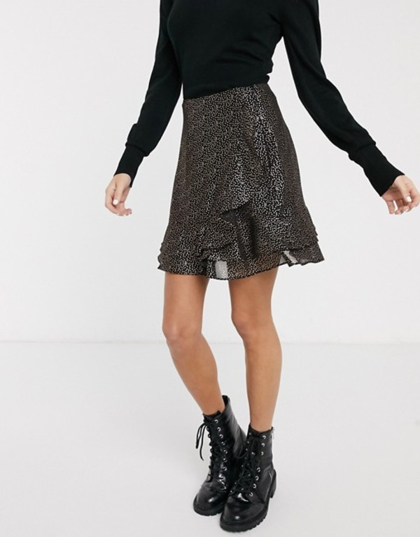 オアシス レディース スカート ボトムス Oasis skirt with metallic spot detail in black Multi black