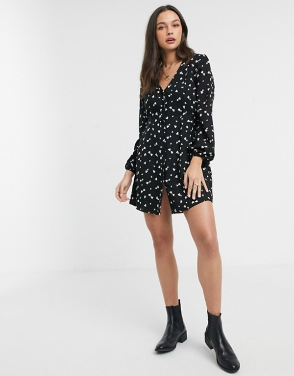 ミスセルフフリッジ レディース ワンピース トップス Miss Selfridge mini tea dress with button through in heart print Multi