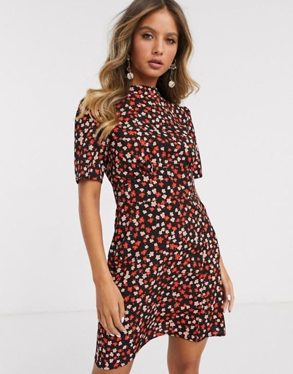 エイソス レディース ワンピース トップス ASOS DESIGN mini tea dress with buttons in floral print Black pink ditsy