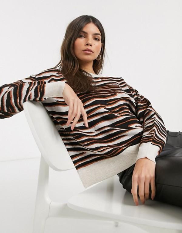 ウエアハウス レディース ニット・セーター アウター Warehouse sweater in zebra print Yellow