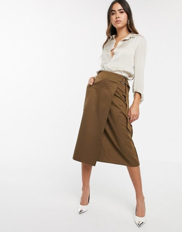 ウエアハウス レディース スカート ボトムス Warehouse utility wrap skirt in khaki Green