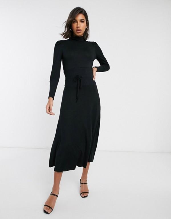 ウエアハウス レディース ワンピース トップス Warehouse high neck dress with tie waist in black Black