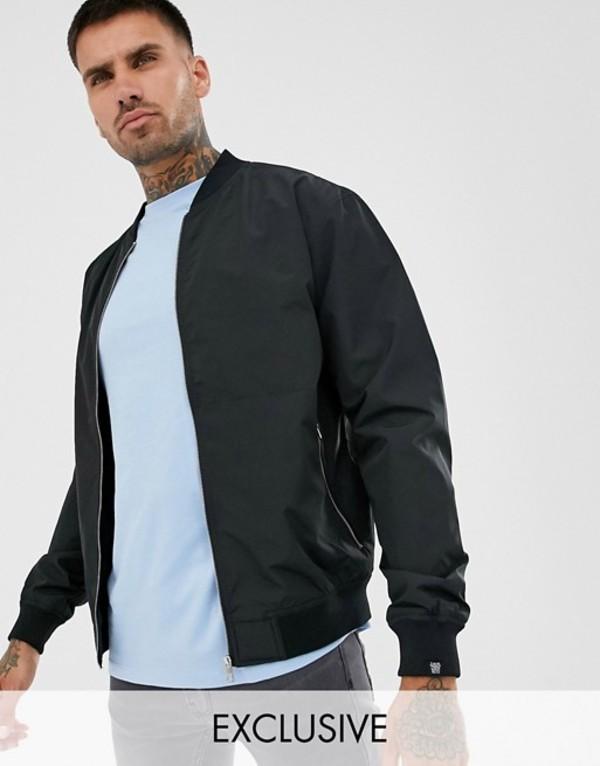 プルアンドベアー メンズ ジャケット・ブルゾン アウター Pull&Bear padded bomber jacket in black Black