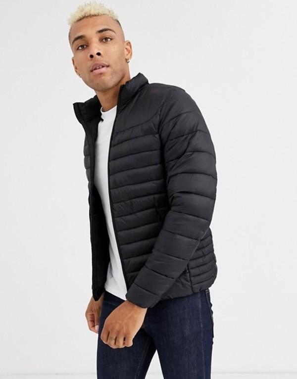 プルアンドベアー メンズ コート アウター Pull&Bear Join Life light puffer jacket in black Black