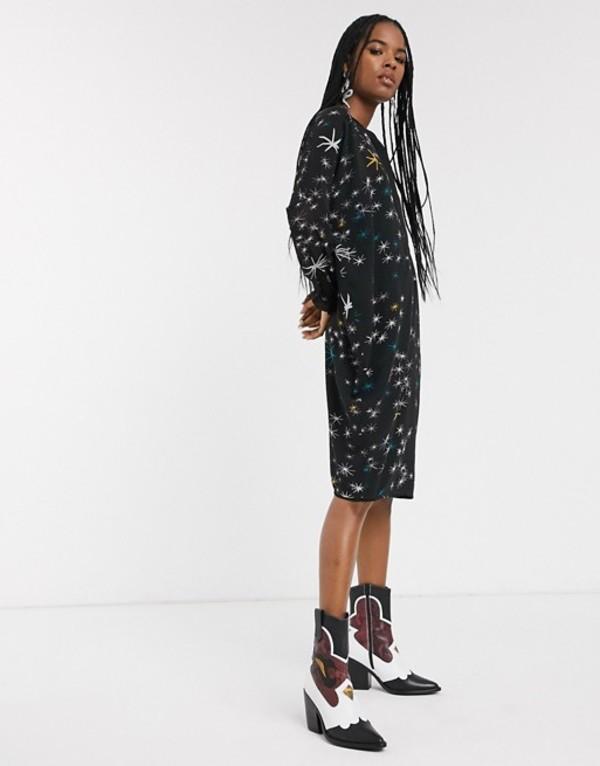 レリジョン レディース ワンピース トップス Religion elation tunic dress in mystical foil print Black