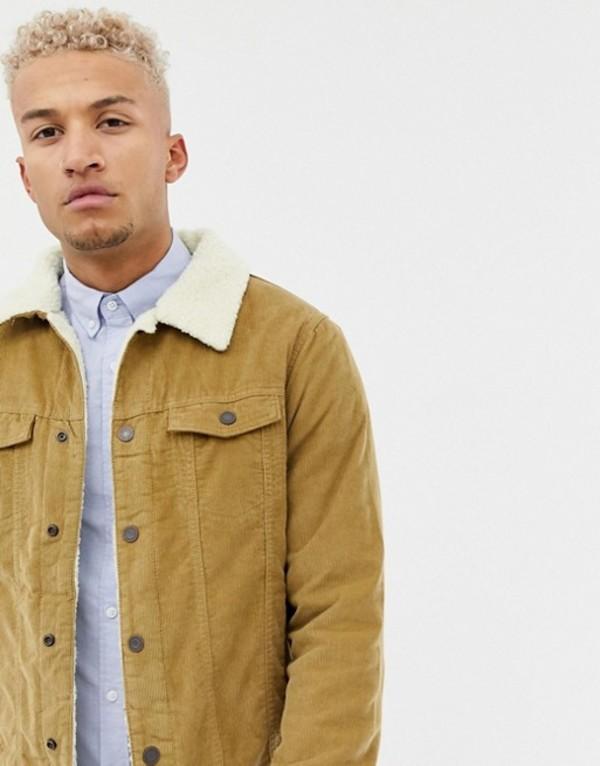 プルアンドベアー メンズ ジャケット・ブルゾン アウター Pull&Bear fleece lined cord jacket in tan Tan