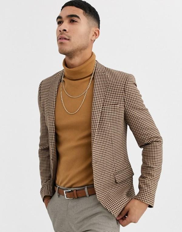 エイソス メンズ ジャケット・ブルゾン アウター ASOS DESIGN skinny blazer with micro check in beige Beige