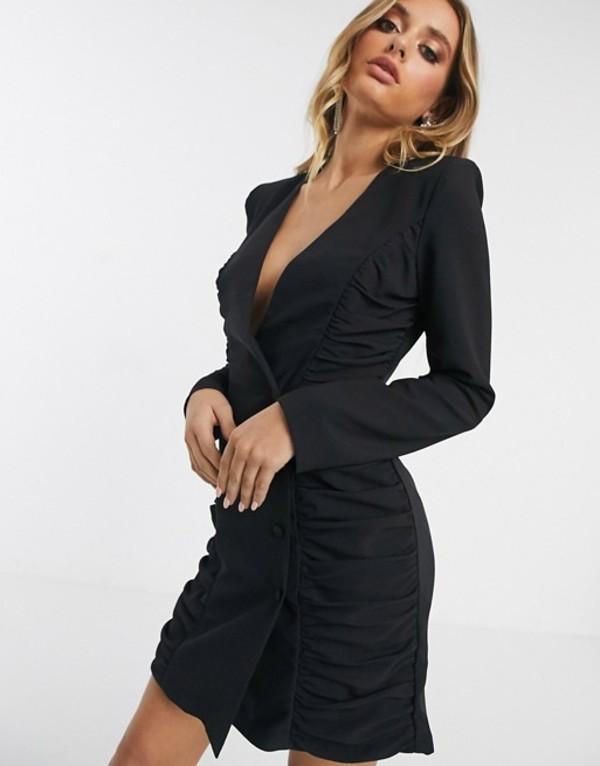 エイソス レディース ワンピース トップス ASOS DESIGN ruched mini tux dress Black