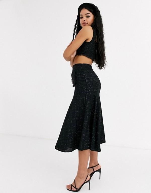 キープセイク レディース スカート ボトムス Keepsake tweed woven midi skirt in black Black