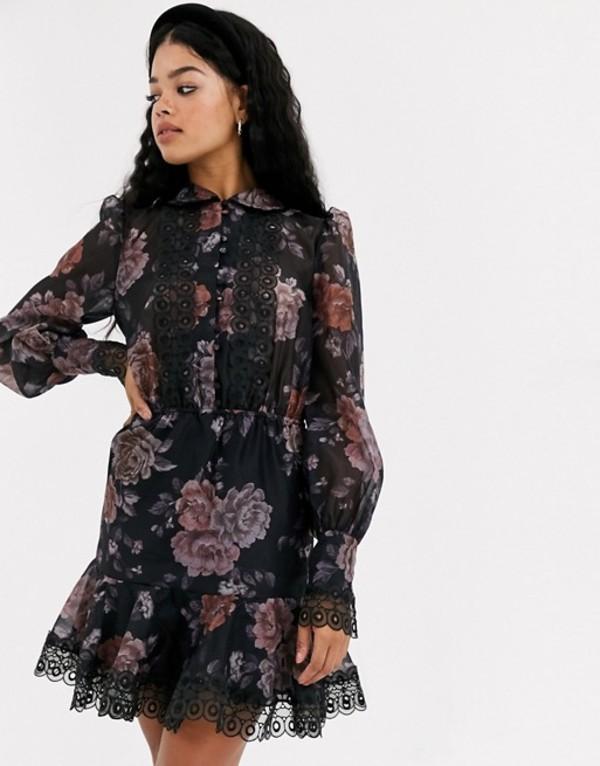 キープセイク レディース ワンピース トップス Keepsake button through mini dress in dark florals Dark floral