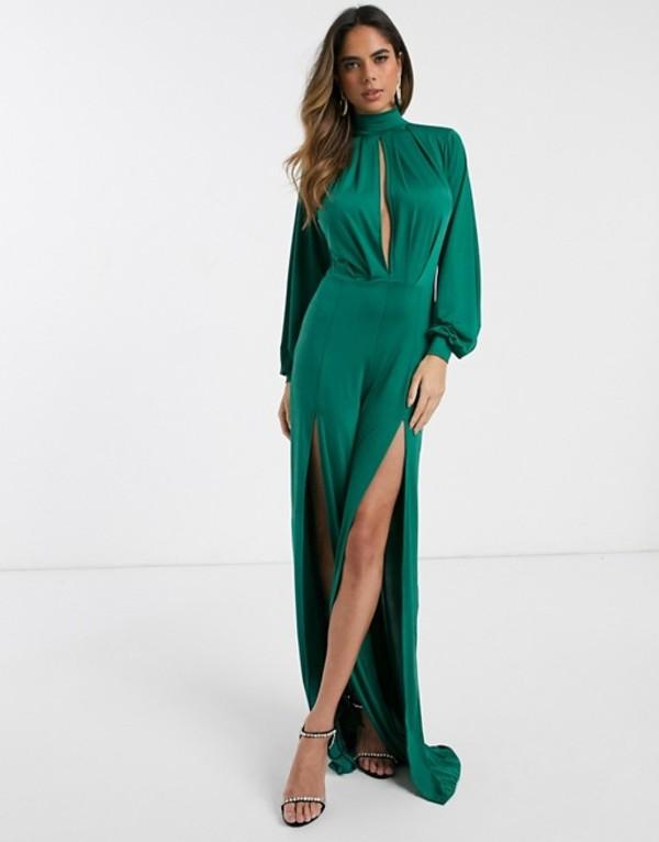 エイソス レディース ワンピース トップス ASOS DESIGN slinky jumpsuit with blouson sleeve and split leg Forest green