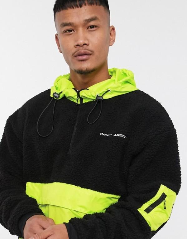 ナイト アディクト メンズ ジャケット・ブルゾン アウター Night Addict neon pocket pullover jacket Black