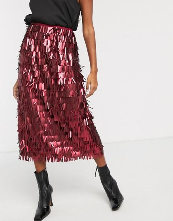 ロストインク レディース スカート ボトムス Lost Ink high waist midi skirt in all over sequin Red sequin