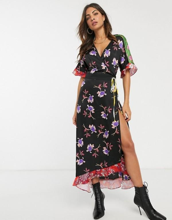 リクオリッシュ レディース ワンピース トップス Liquorish midaxi wrap dress with tie waist detail in mixed floral print Black