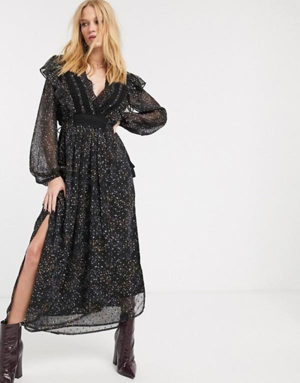 オブジェクト レディース ワンピース トップス Object maxi dress with volume sleeves and side split in black floral Black