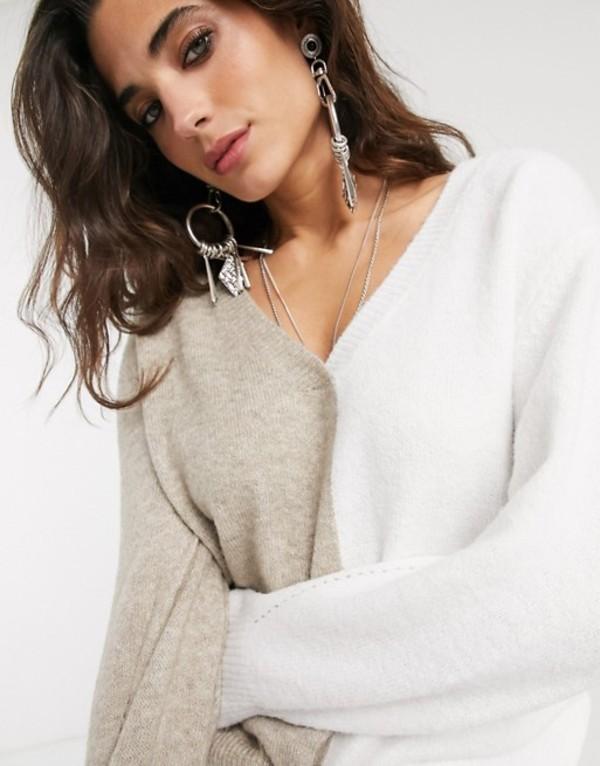 オブジェクト レディース ニット・セーター アウター Object sweater with v- neck in color block Multi