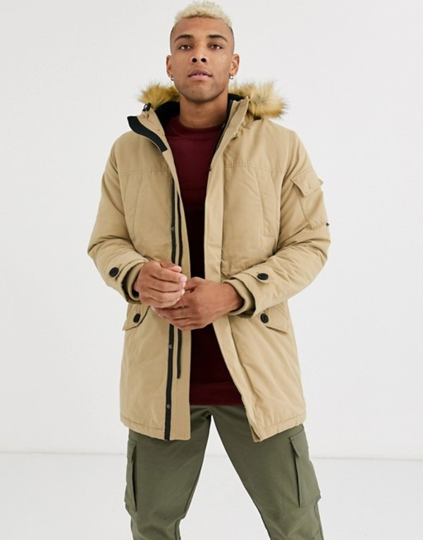 ベルシュカ メンズ コート アウター Bershka parka with fleece lined hood and detachable fur in beige Beige