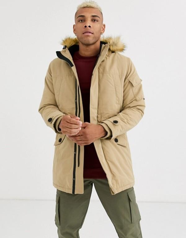 ベルシュカ メンズ コート アウター Bershka parka with fleece lined hood and detachable fur in beige Beige