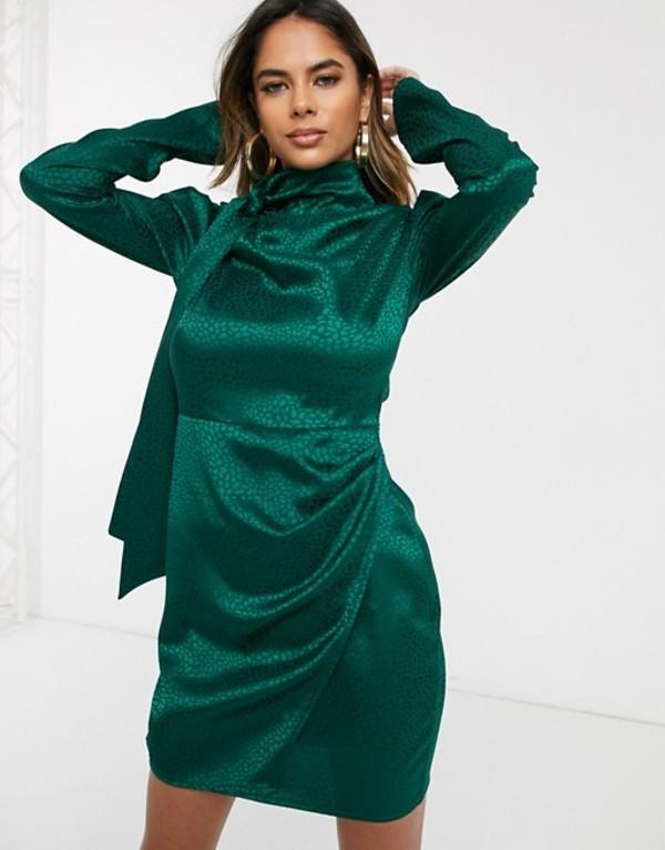 パブリックデザイア レディース ワンピース トップス Public Desire mini dress with wrap front skirt and tie neck in animal satin Teal