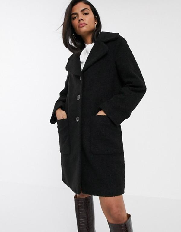 ウエアハウス レディース コート アウター Warehouse teddy coat in black faux fur Black