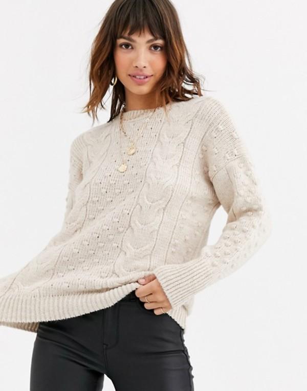 ウエアハウス レディース ニット・セーター アウター Warehouse sweater with bobble detail in cream Cream