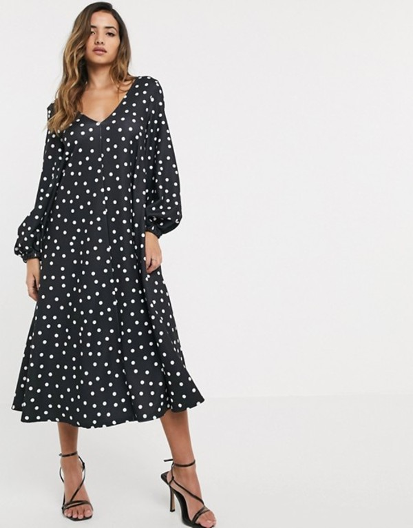 エイソス レディース ワンピース トップス ASOS DESIGN textured midi v neck swing dress in polka dot Polka dot