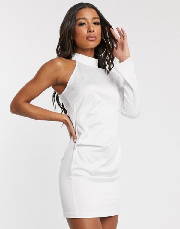 ミスガイデッド レディース ワンピース トップス Missguided satin one shoulder ruched side mini dress in white White