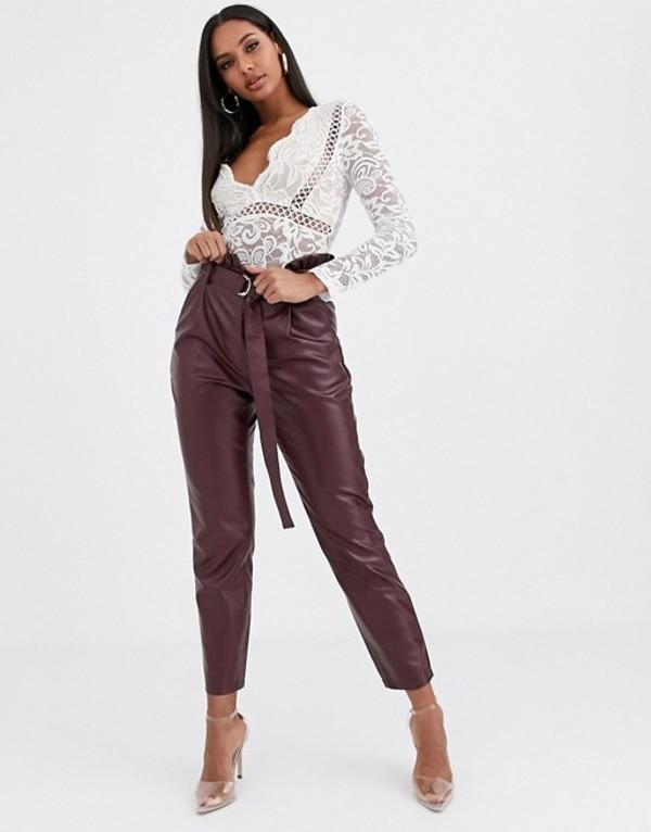 ミスガイデッド レディース カジュアルパンツ ボトムス Missguided faux leather paperbag waist pants in burgundy Red