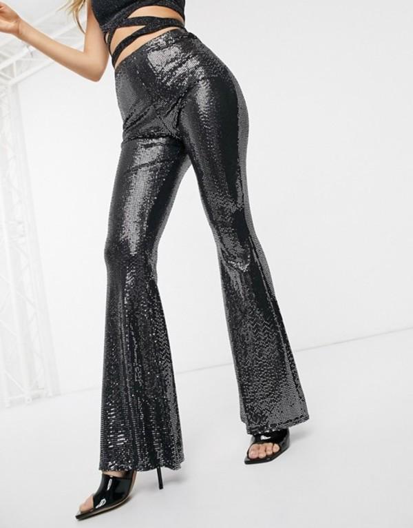 ミスガイデッド レディース カジュアルパンツ ボトムス Missguided sequin high waisted flare pants in black Black